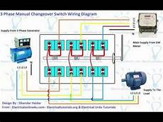 3 phase manual changeover switch wiring diagram generator transfer switch youtube