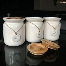 Ceramic Kitchen Storage Jars large tea coffee sugar ceramic canisters rope labels