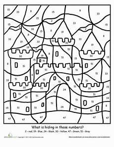 2nd grade math worksheet color by number color by number sand castle worksheet education