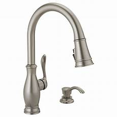 lowes kitchen faucets single handle pull kitchen faucet with soap dispenser and shieldspray delta faucet