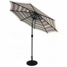 sunray 9 ft steel solar lighted 8 rib market patio umbrella in navy striped 841006 the