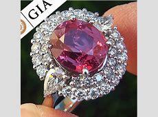 GIA 5.71 ct Padparadscha Sapphire Diamond Ring   World's Best