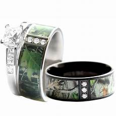 his hers stainless steel camo 925 silver engagement wedding rings black ebay