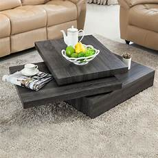 Oak Square Rotating Wood Coffee Table With 3 Layers Home