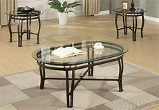 3 pieces modern oval coffee end table set glass top