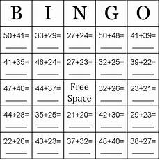 addition bingo worksheets 8794 addition using numbers between 20 50 bingo cards