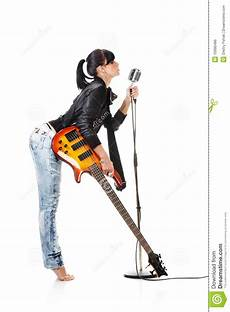 guitar and singing rock n roll holding a guitar singing into ret royalty free stock image image 10990486