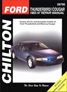 free online auto service manuals 1996 mercury cougar on board diagnostic system ford thunderbird mercury cougar repair manual 1983 1997 chilton