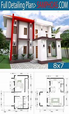 sketchup house plan 8x7m sketchup home design with 2 bedrooms house design