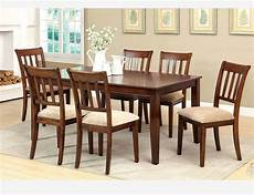 Cherry Wood Dining Room Sets by F 7 Pc Brown Cherry Wood Dining Room Set Chairs Fabric