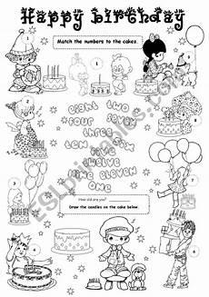 happy birthday worksheets esl 20219 happy birthday 1 level 1 esl worksheet by gabitza