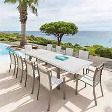 table de jardin extensible taupe et noisette