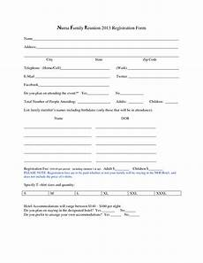 reunion registration form template