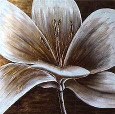 peinture moderne fleur blanche tableau peint carr 233