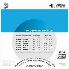 guitar strings 12 53 d addario ej16 phosphor bronze acoustic guitar strings 12 53 light