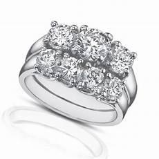 3 band diamond wedding rings 2 25 ct three stone diamond engagement ring with wedding band