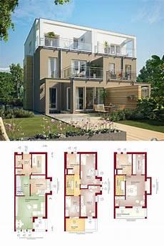 Moderne Doppelhäuser Grundrisse - doppelhaus modern mit flachdach grundriss