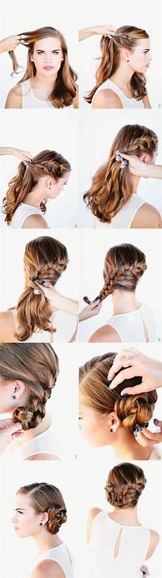 french braid bun hair tutorial once wed