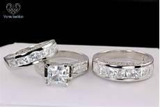 10k white gold his and diamond engagement bridal wedding band trio ring cz moissanite