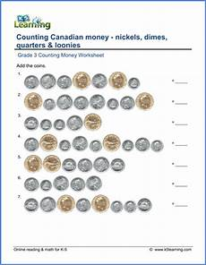 adding money worksheets grade 3 2522 canadian money worksheet nickels dimes quarters and loonies k5 learning