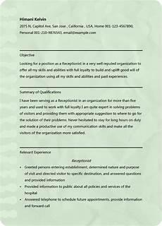 receptionist resume sle microsoft word doc format