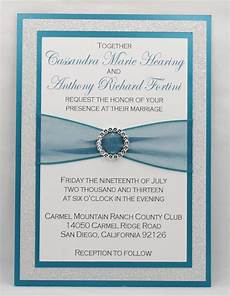 diy print at home stunning teal silver glitter wedding invitation kit full of bling