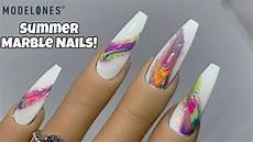 summer marble nails gel polish nail art modelones