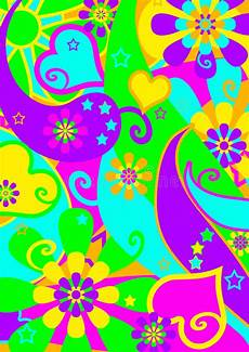Funky Psychedelic Flower Power Pattern Stock Vector
