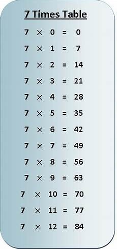 table de 7 7 times table multiplication chart exercise on 7 times