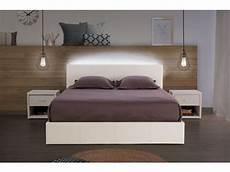 lit coffre 140x190 cm avec led steva light coloris blanc