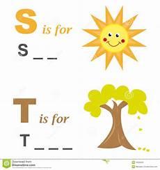 sun lettere alphabet word sun and tree stock vector image