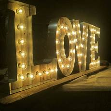 handcrafted light up love sign