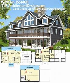 lake house plans for sloping lots plan 35514gh 3 bed sloping lot house plan with grand rear