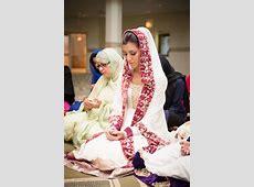 South Asian desi bride. Wedding ritual prayer du'a at