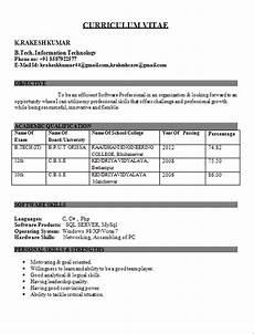 it engineer fresher resume resume format for freshers