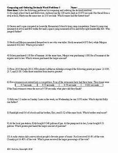 decimals word problems worksheets with answers 7534 comparing and ordering decimals word problems 3 worksheets tpt