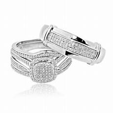 midwestjewellery 10k white gold 0 54cttw diamond trio wedding rings set his and hers walmart com
