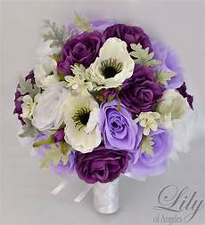 17 piece package silk flower wedding bridal bouquets plum lavender white ivory ebay