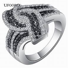 personality tie open ring jewelry black white classic elegant silver wedding ring for