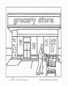 places coloring pages 18026 paint the town grocery store worksheet education