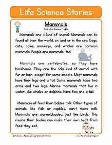 mammals life science reading comprehension worksheet