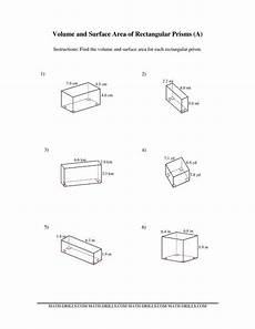 rectangle measurement worksheets 1587 the volume and surface area of rectangular prisms a math worksheet from the measurement works