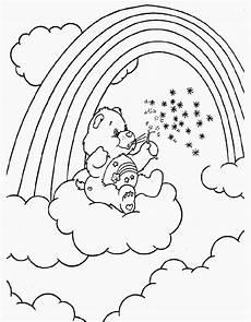ausmalbild regenbogen mit wolken