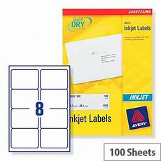 avery quickdry inkjet label 8 per sheet of 100 buy online at huntoffice ie