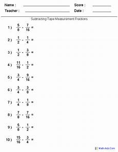 math worksheets on adding and subtracting fractions with unlike denominators subtracting measure fractions worksheets worksheets