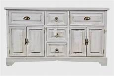 meuble bas rangement bois ceruse blanc 5 tiroirs 124 5x33