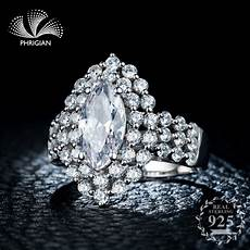 not fake ring 925 s925 sterling silver ring sona diamond large authentic oval shape wedding