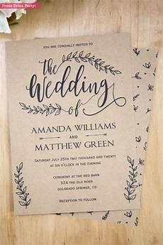 wedding invitation template rustic wedding invitation printable leaf design decor