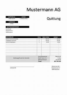 quittung vorlage schweiz gratis im word