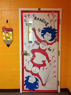 dr seuss thing 1 and thing 2 classroom door decoration national read across america month